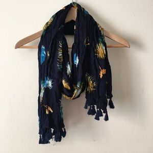 Feather Tassle Navy Scarf